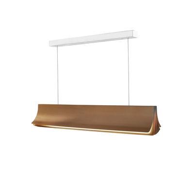 Illuminazione - Lampadari - Sospensione Respiro LED - / L 90 cm - Alluminio di DCW éditions - Or / Intérieur or - Alluminio anodizzato