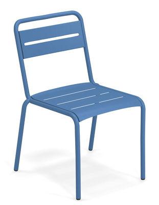 Möbel - Stühle  - Star Stapelbarer Stuhl / Metall - Emu - Azurblau - gefirnister Stahl