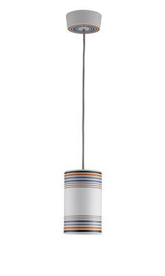 Luminaire - Suspensions - Suspension May / peinte à la main - Ø 12,5 x H 20 cm - Original BTC - Taille 2 / Rayures oranges - Porcelaine