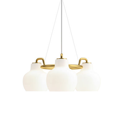 Suspension VL Ring Crown / 3 abat-jours - Ø 55 cm - Louis Poulsen blanc,laiton en métal