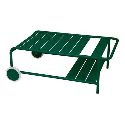 Mobilier - Tables basses - Table basse Luxembourg / Avec roues - 105 x 65 cm - Fermob - Vert Cèdre - Aluminium
