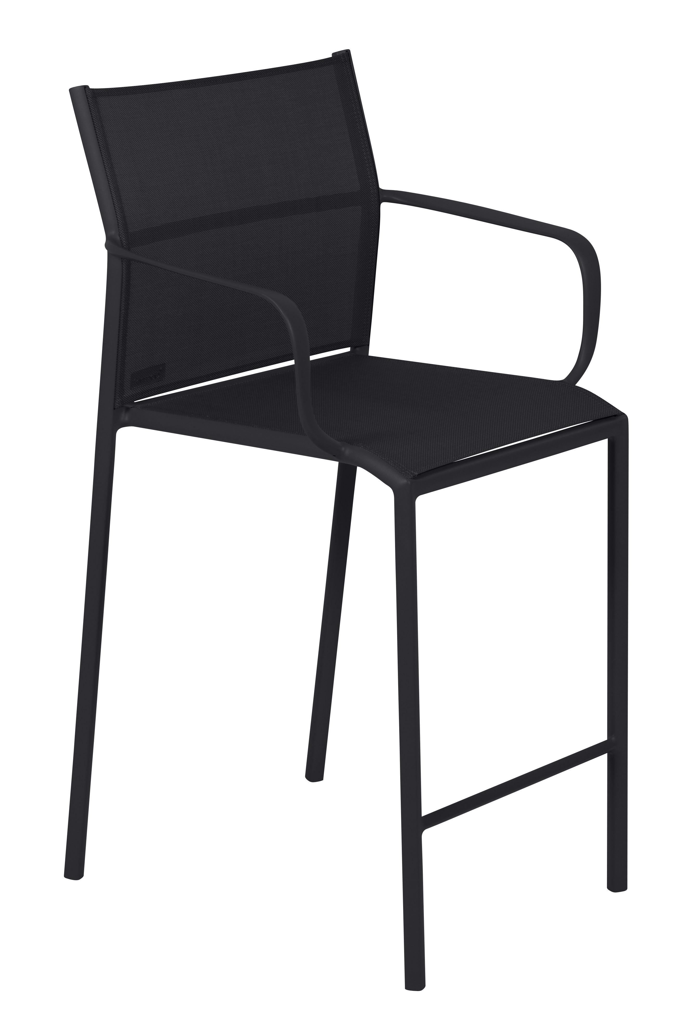 Mobilier - Tabourets de bar - Tabouret haut Cadiz / Avec accoudoirs - H 65 cm - Fermob - Réglisse - Aluminium laqué, Toile Batyline®
