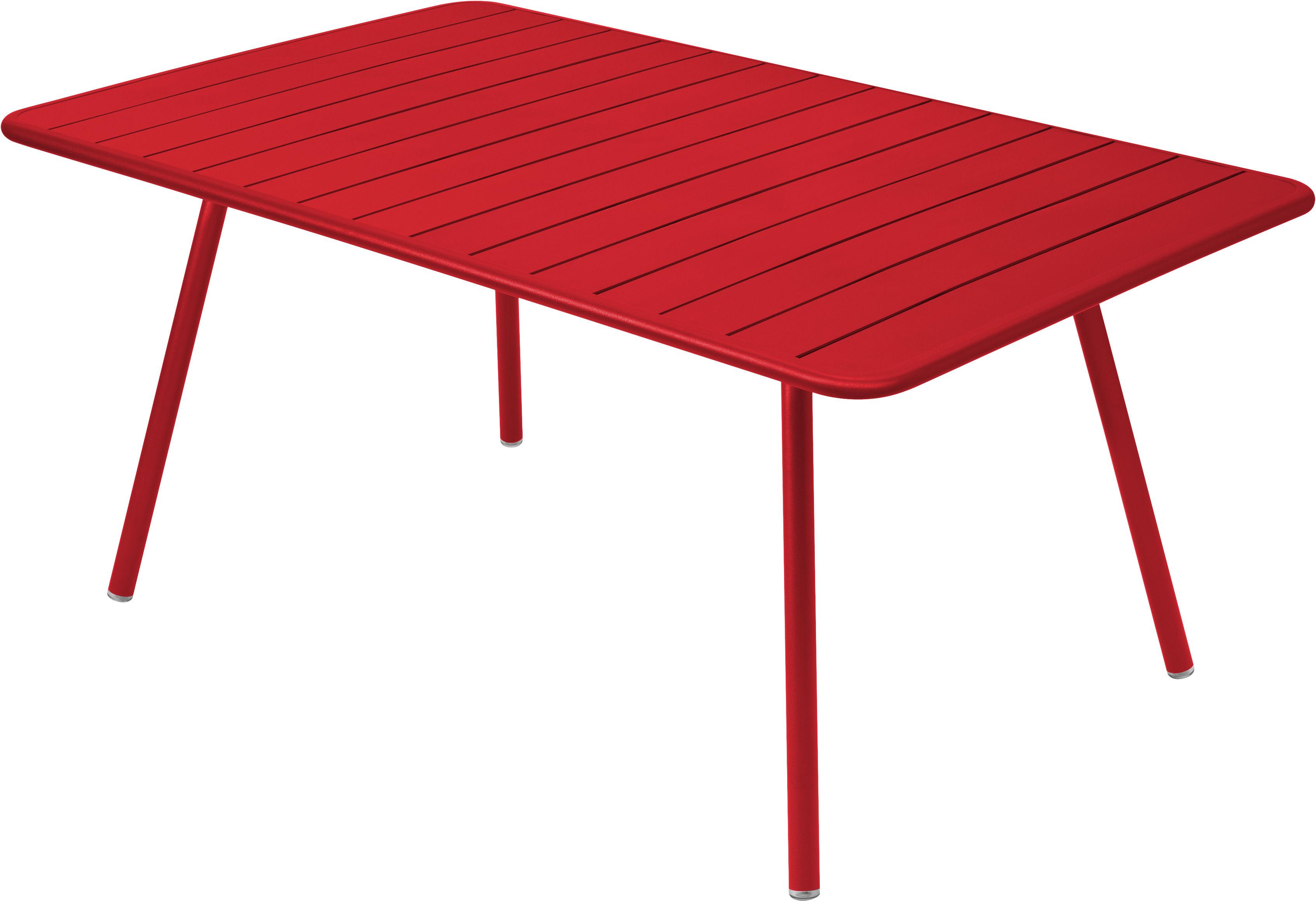 Life Style - Tavolo rettangolare Luxembourg - / 6 a 8 persone - 165 x 100 cm di Fermob - Papavero - Alluminio laccato