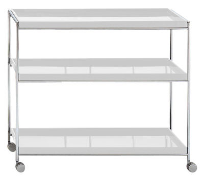 Möbel - Beistell-Möbel - Trays Ablage - Kartell - Weiß - verchromter Stahl