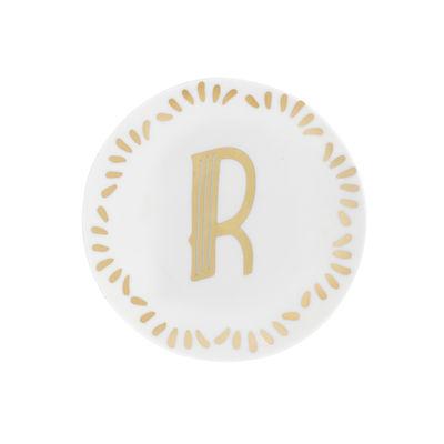Arts de la table - Assiettes - Assiette à mignardises Lettering / Ø 12 cm - Lettre R - Bitossi Home - Lettre R / Or - Porcelaine