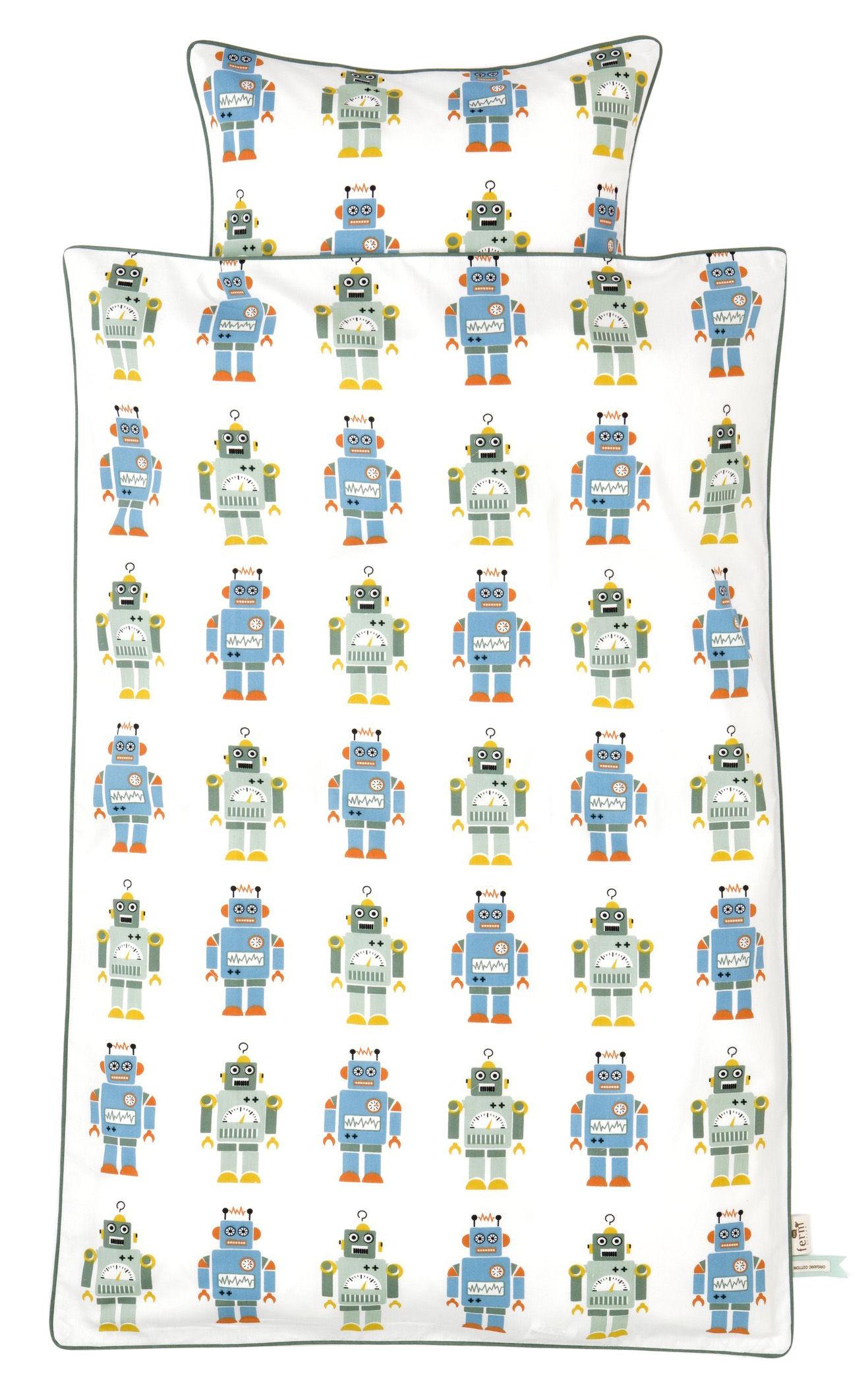 bettw sche f r kinderbett robot junior von ferm living 100 x 140 cm roboter blau und gr n. Black Bedroom Furniture Sets. Home Design Ideas