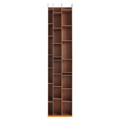 Mobilier - Etagères & bibliothèques - Bibliothèque Random 3C / L 46 x H 217 cm - MDF Italia - Noyer - MDF plaqué noyer Canaletto