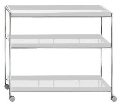 Arredamento - Complementi d'arredo - Carrello/tavolo d'appoggio Trays di Kartell - Bianco - Acciaio cromato