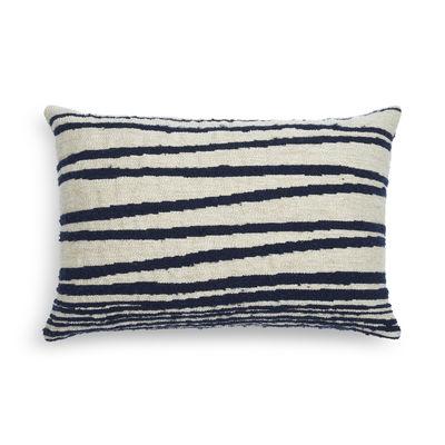 Déco - Coussins - Coussin White Stripes / 60 x 40 cm - Ethnicraft - Blanc / Rayures bleues - Plumes de canard, Tissu Oeko-Tex