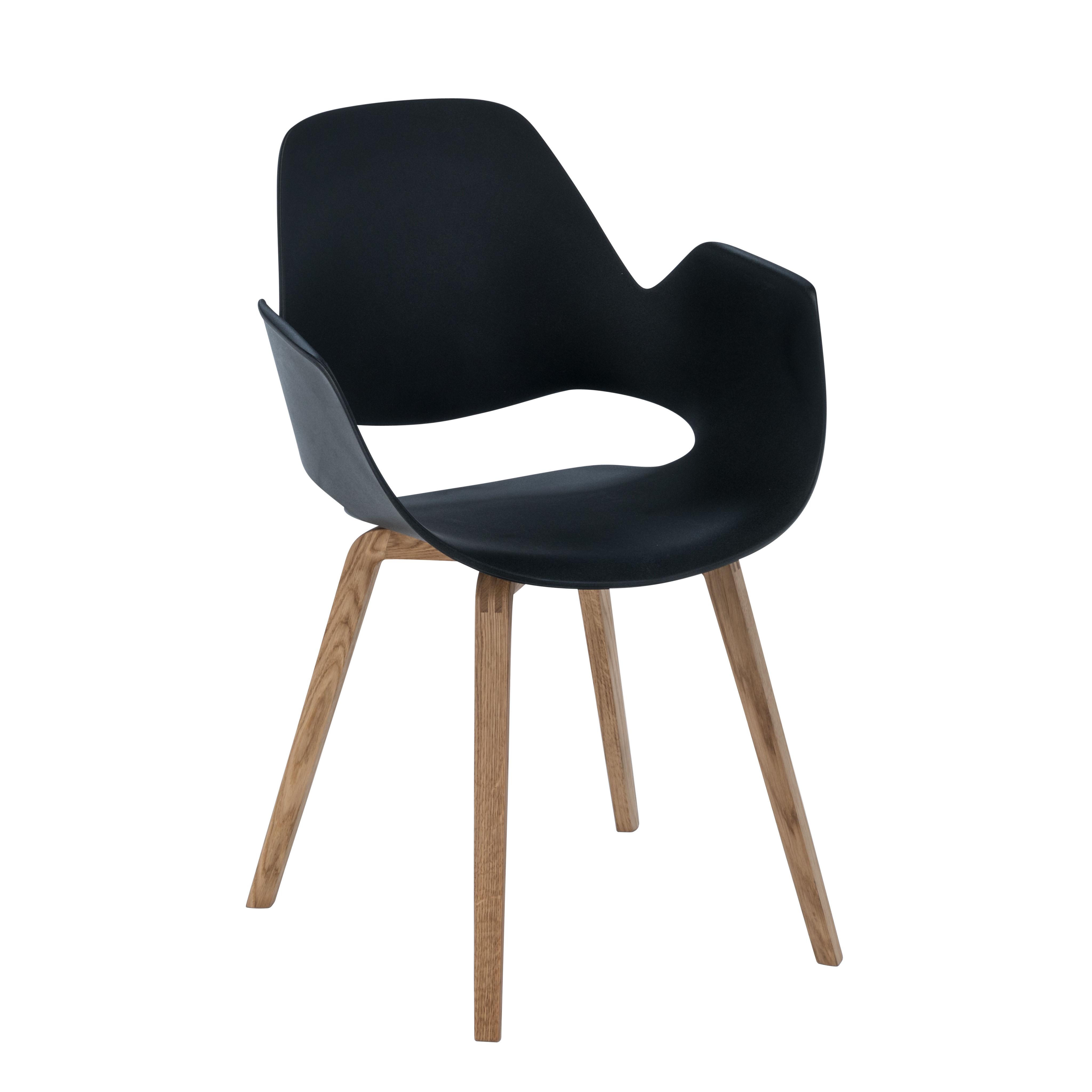 Mobilier - Chaises, fauteuils de salle à manger - Fauteuil Falk / Déchets ménagers recyclés - Pieds chêne - Houe - Noir / Pieds chêne - Chêne massif huilé FSC, Plastique recyclé