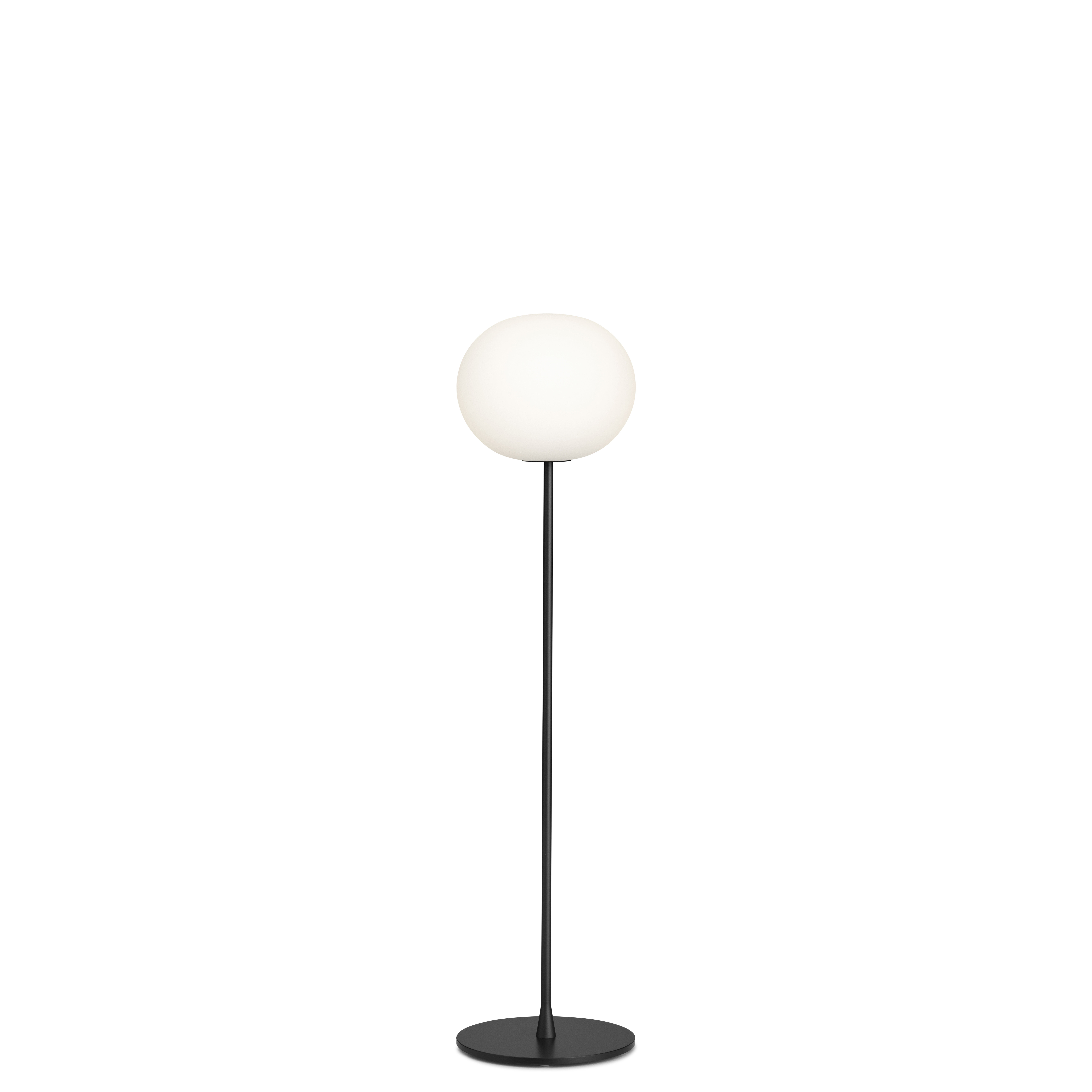 Lighting - Floor lamps - Glo-Ball F1 Floor lamp - / H 135 cm -Mouth-blown glass by Flos - Black - Mouth blown glass, Varnished steel