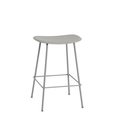 Furniture - Bar Stools - Fiber Bar High stool - / H 65 cm - Metal legs by Muuto - Grey - Painted steel, Recycled composite material