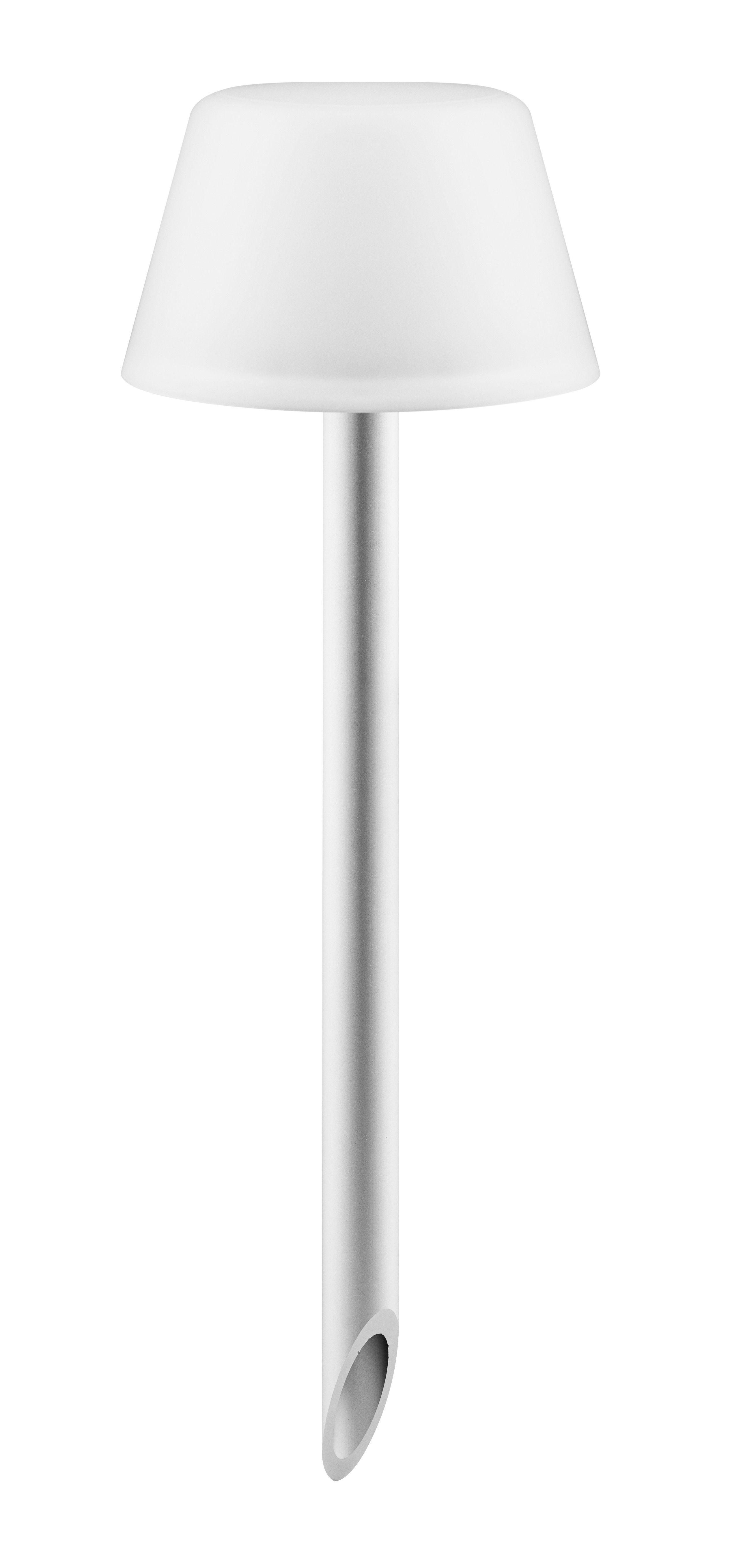 Illuminazione - Illuminazione da esterni - Lampada Sunlight - da piantare H  38 cm / Energia solare - Senza fili di Eva Solo - Bianco / Piede alluminio - Alluminio anodizzato, Vetro smerigliato
