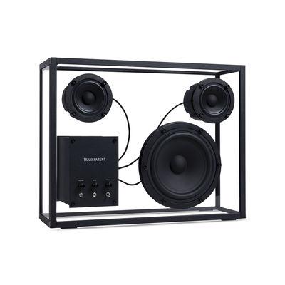 Accessoires - Lautsprecher & Ton - Large Lautsprecherbox / L 42 x H 33 cm - Gehärtetes Glas - Transparent Speaker - Schwarz / Transparent - Aluminium, Einscheiben-Sicherheitsglas