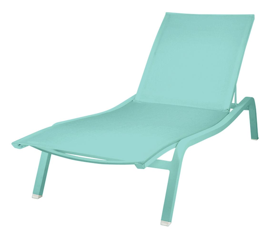 Outdoor - Sedie e Amache - Lettino prendisole Alizé XS larg 72 cm / 3 posizioni - Fermob - Blu laguna - Alluminio laccato, Tela poliestere