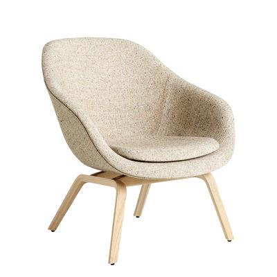 Möbel - Lounge Sessel - About A lounge AAL83 Lounge Sessel / Gepolstert - Hay - Beige gesprenkelt / Eiche matt lackiert -  Contreplaqué de chêne verni mat, Gewebe, Polyurethan-Schaum, verstärktes Polypropylen