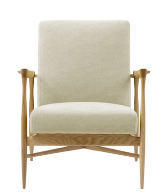 Furniture - Armchairs - Floating Padded armchair - / Fabric by RED Edition - Chalk / Oak - Cotton, High resilience foam, Solid oak