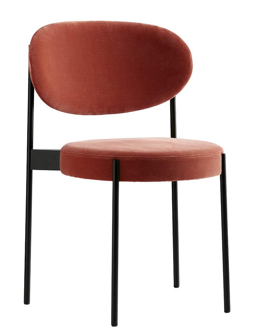 Furniture - Chairs - Series 430 Padded chair - / Velvet by Verpan - Velvet / Orange-pink - Foam, Stainless steel, Velvet