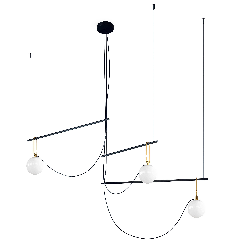 Lighting - Pendant Lighting - nh S3 Pendant - / Blown glass & brass by Artemide - Black & brass - Blown glass, Brushed brass, Metal