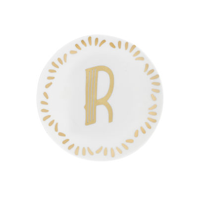 Tableware - Plates - Lettering Petit fours plates - Ø 12 cm / Letter R by Bitossi Home - Letter R / Gold - China