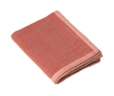 Plaid Ripple / 115 x 180 cm - Muuto blanc,rouge corail en tissu