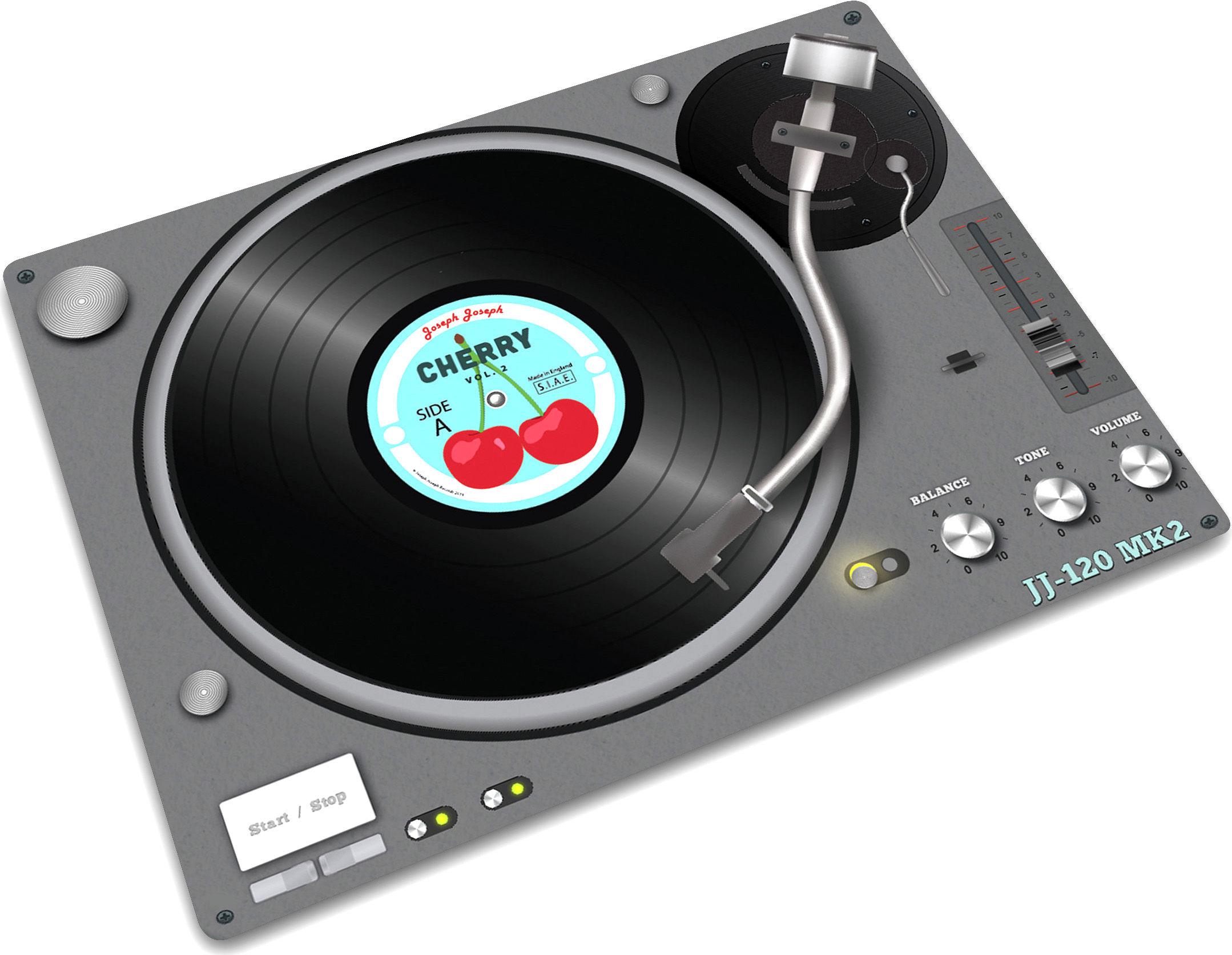 Cuisine - Pratique & malin - Planche à découper Record player / 40 x 30 cm - Joseph Joseph - Table de mixage - Caoutchouc, Verre