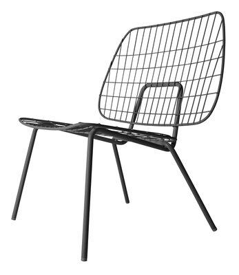 Arredamento - Poltrone design  - Poltrona bassa WM String Lounge / Acciaio - Menu - Nero - Acier laqué époxy