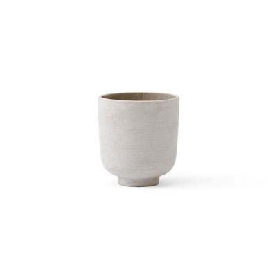Pot de fleurs Collect SC69 / Ø 12 x H 13 cm - Polystone - &tradition blanc/argent en matière plastique/pierre