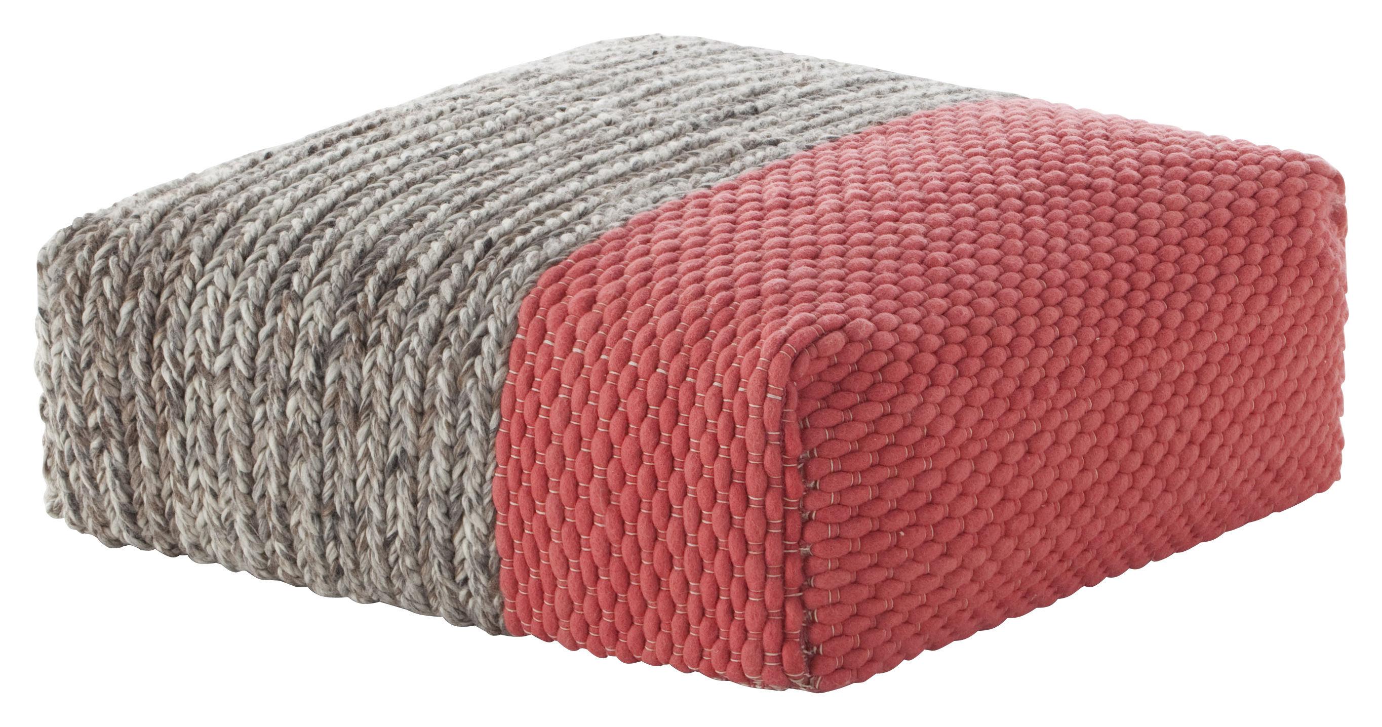 Furniture - Poufs & Floor Cushions - Mangas Space Plait Pouf - / 90 x 90 cm - H 30 cm by Gan - Coral - Mousse caoutchouc, Virgin wool