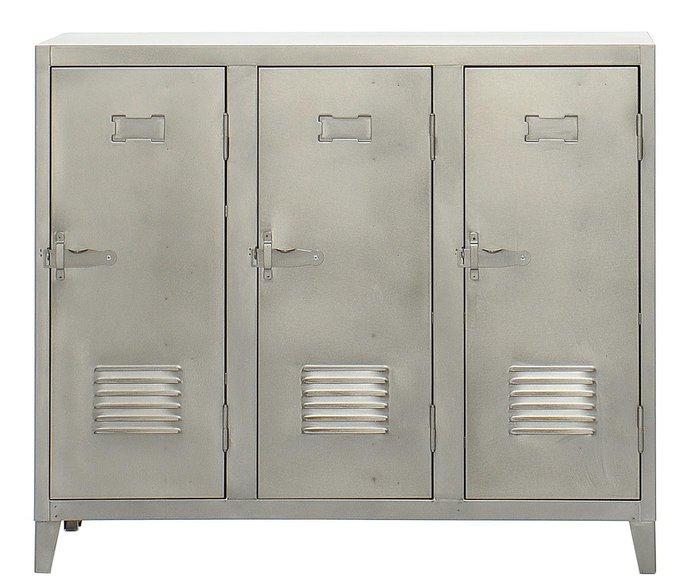 Mobilier - Meubles de rangement - Rangement Vestiaire bas / 3 portes - Acier - Tolix - Acier brut verni satiné - Acier brut verni mat