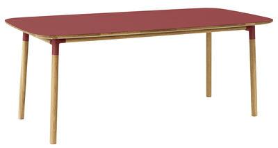Furniture - Dining Tables - Form Rectangular table - 95 x 200 cm by Normann Copenhagen - Red / oak - Linoleum, Oak, Polypropylene