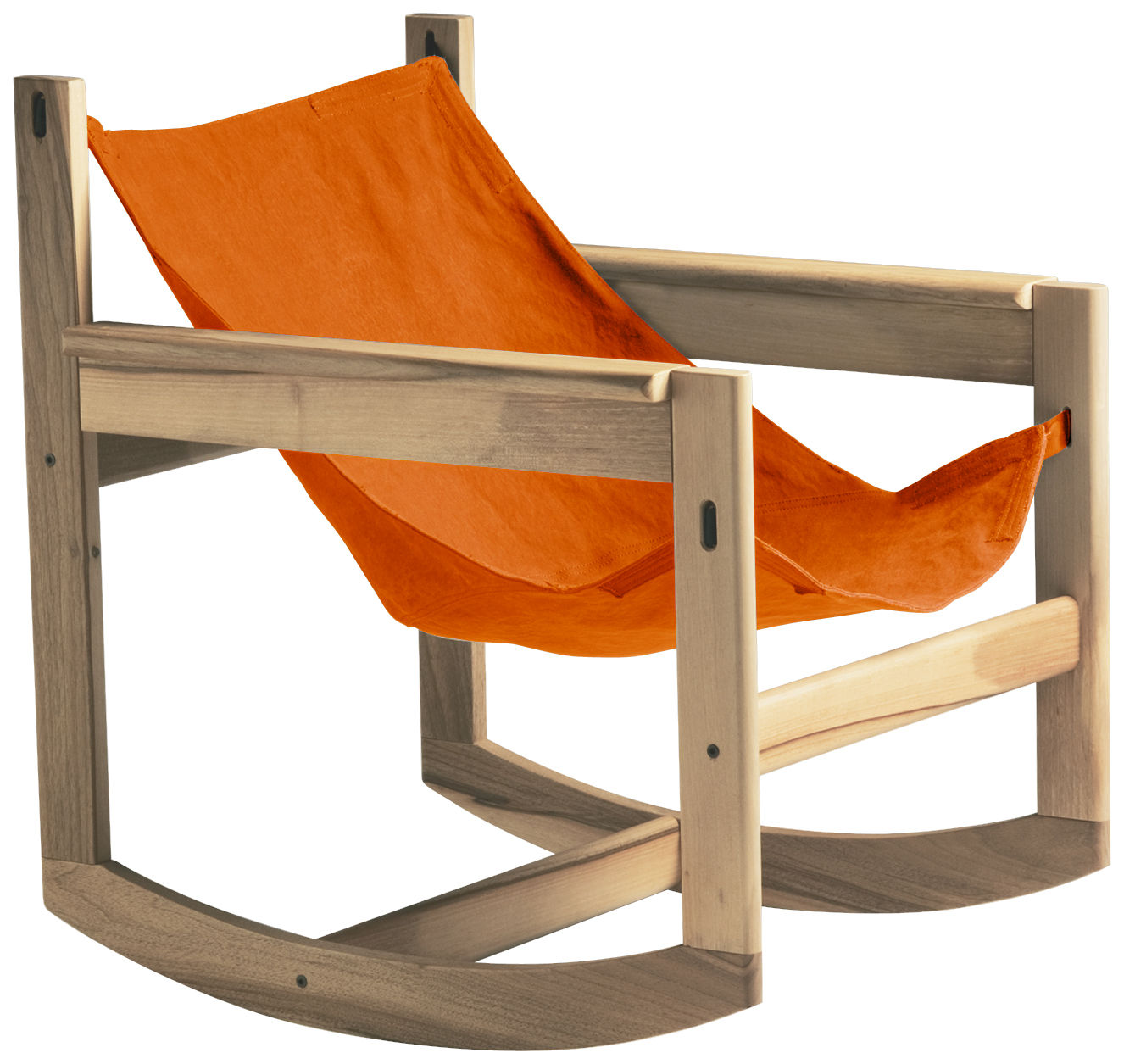 Furniture - Armchairs - Pelicano Rocking chair - Rocking chair by Objekto - Oak structure / Paprika cover - Cotton, Oak