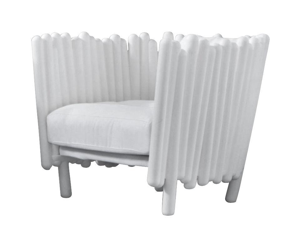Möbel - Lounge Sessel - Canisse Sessel - Serralunga - Weiß - Polyäthylen, Polyester-Gewebe