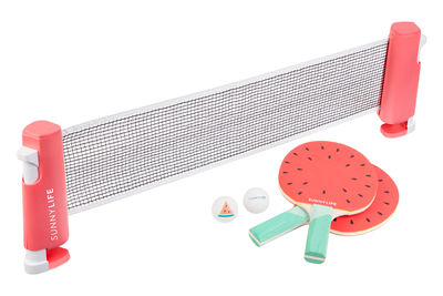 Déco - Pour les enfants - Set ping-pong Play On / Raquettes, balles & filet - Sunnylife - Pastèque / Rouge - Peuplier, PVC