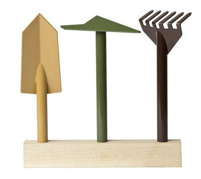 Outdoor - Vasi e Piante - Set strumenti giardino Orte - / Base in legno di Internoitaliano - Giallo, verde, marrone / Base legno - Legno massello, metallo verniciato