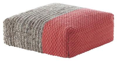 Möbel - Sitzkissen - Mangas Space Plait Sitzkissen / 90 x 90 x H 30 cm - Gan - Koralle - Laine vierge, Mousse caoutchouc
