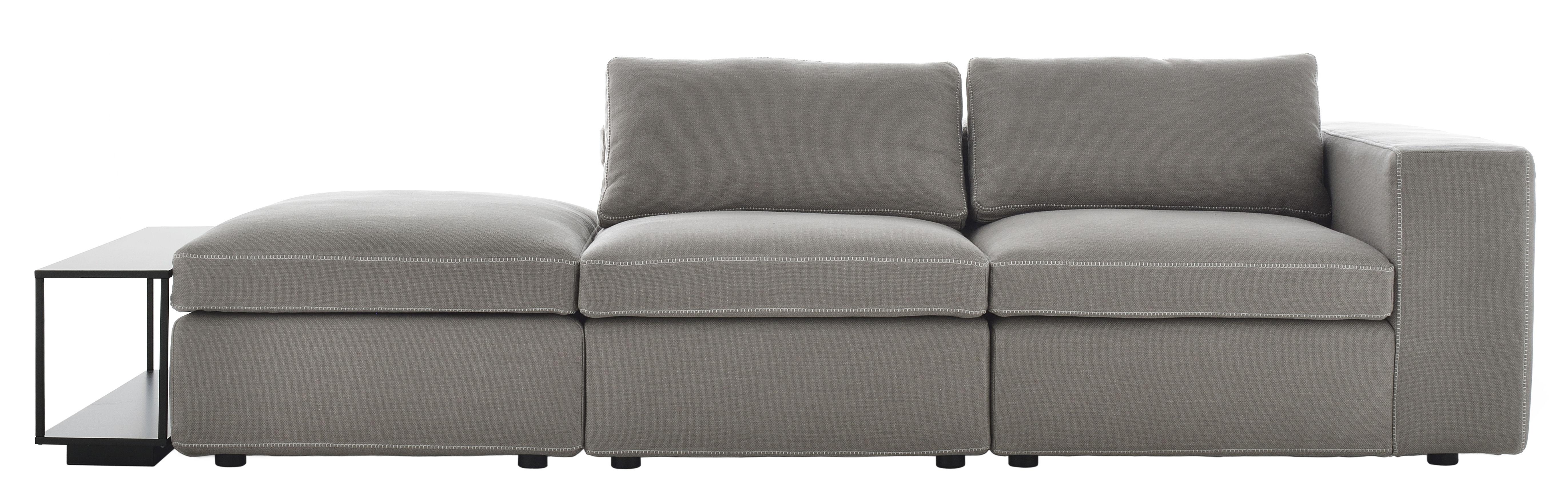 Möbel - Sofas - Grafo Sofa / Kombination: 3 gepolsterte Sitze + 1 Tisch - MDF Italia - Hellgrau / weiße Nähte -  Plumes, Furnier, geschäumtes Polyurhethan, Gewebe, Massivholz