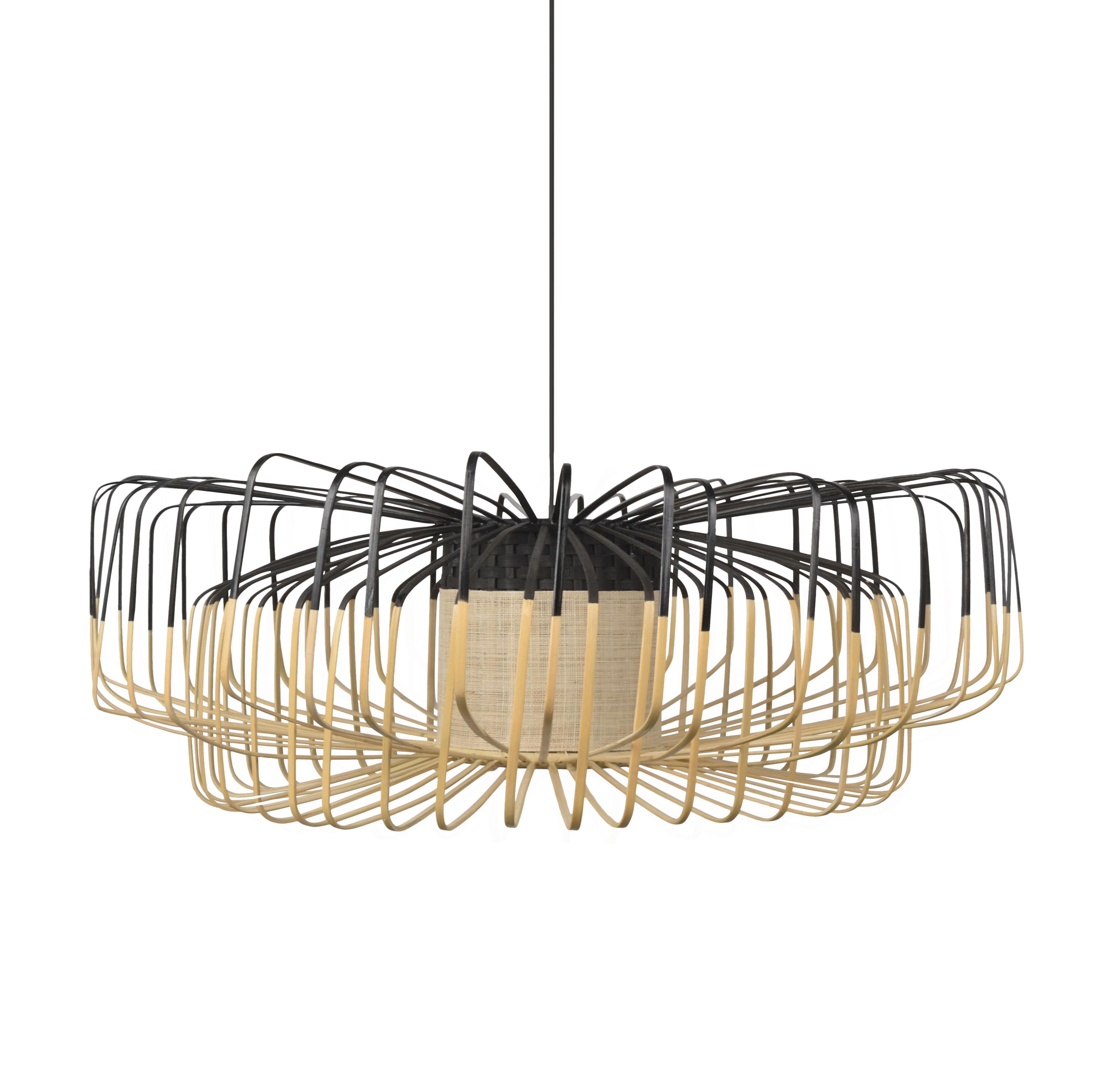 Illuminazione - Lampadari - Sospensione Bamboo Up-Down XXL - / Ø 80 cm di Forestier - Nero - Bambù