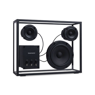 Product selections - Mothers' Day - Large Speaker - / L 42 x H 33 cm - Tempered glass by Transparent Speaker - Black / Transparent - Aluminium, Soak glass