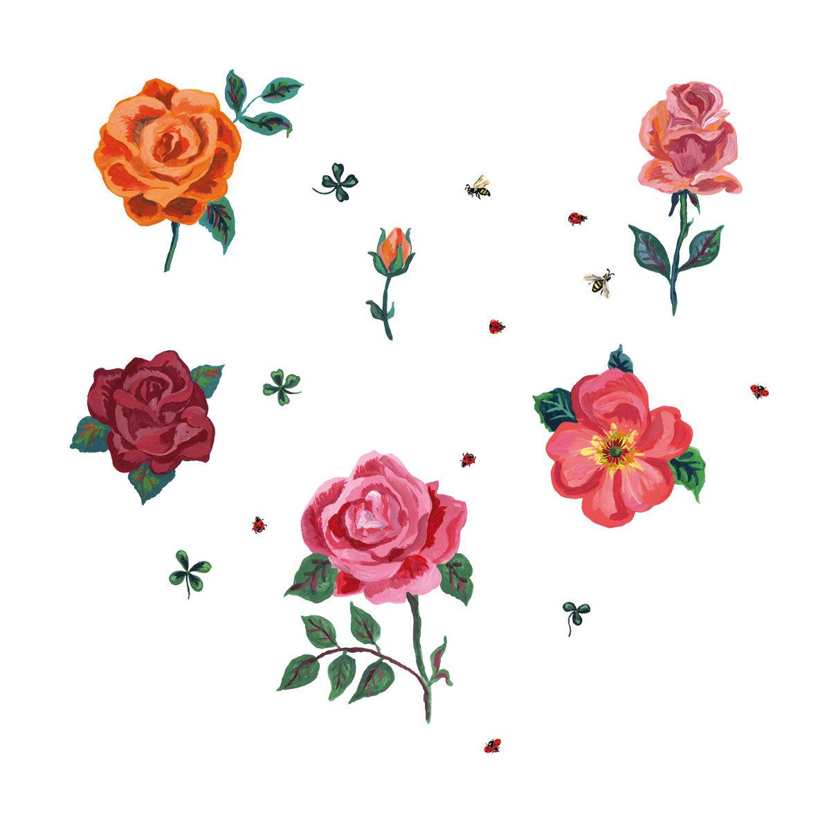 Dekoration - Stickers und Tapeten - Des roses Sticker 6er Set - Domestic - Mehrfarbig - Rosen - Vinyl
