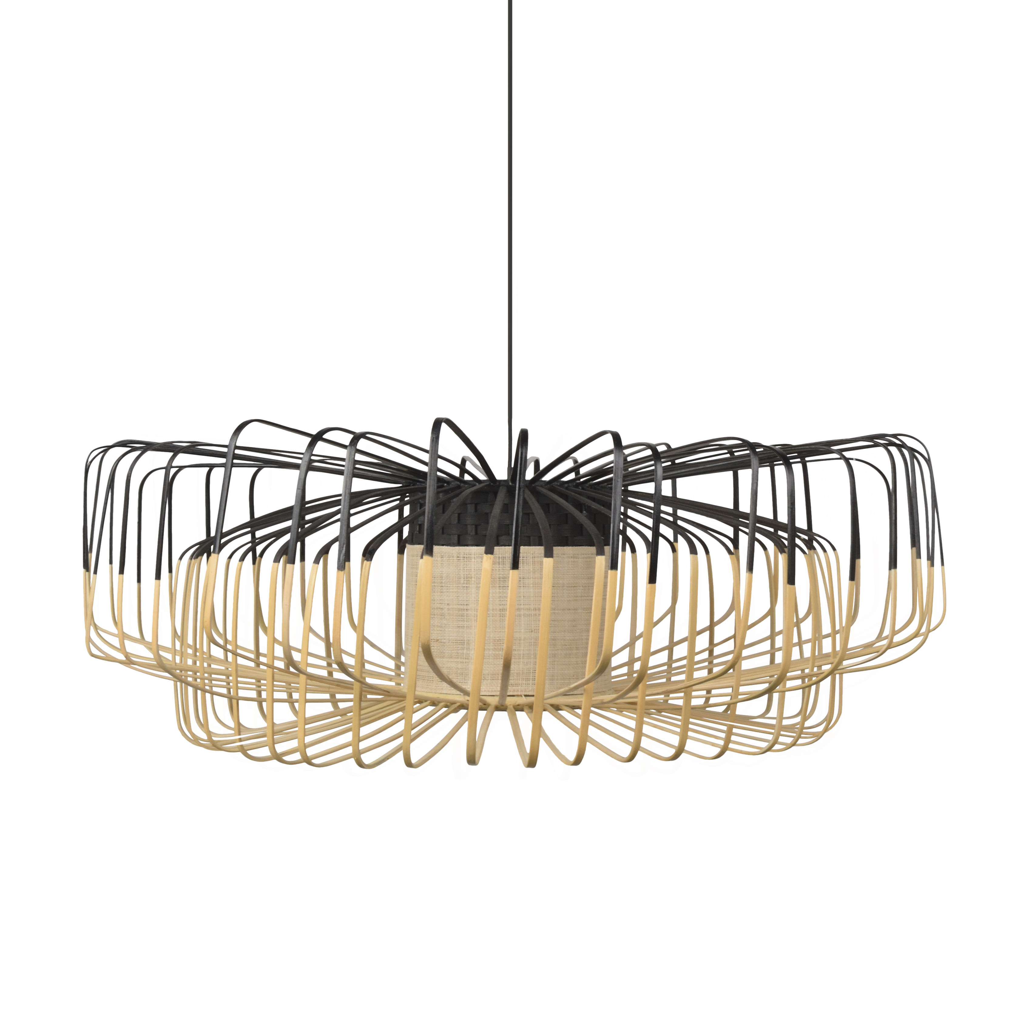 Luminaire - Suspensions - Suspension Bamboo Up-Down XXL / Ø 80 cm - Forestier - Noir - Bambou