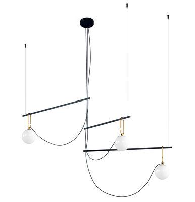Luminaire - Suspensions - Suspension nh S3 / Globes Ø 14 - L 117 cm - Artemide - Noir & laiton - Laiton brossé, Métal, Verre soufflé