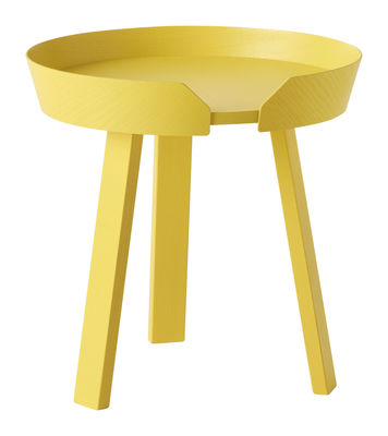 Mobilier - Tables basses - Table basse Around Small / Ø 45 x H 46 cm - Muuto - Jaune - Frêne teinté