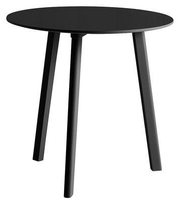 Mobilier - Tables - Table ronde Copenhague CPH Deux 220 / Ø 75 cm - Hay - Noir - Hêtre peint, Laminé, Stratifié
