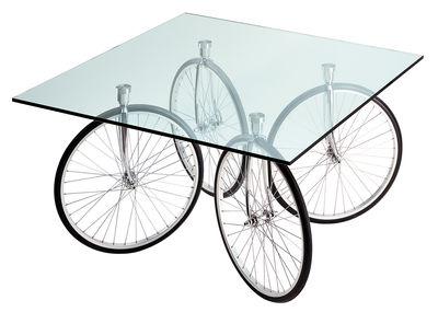 Mobilier - Tables - Table Tour / 120 x 120 x H 69 cm - Fontana Arte - Verre - Chrome - Acier chromé, Caoutchouc, Verre