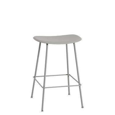 Mobilier - Tabourets de bar - Tabouret haut Fiber Bar / H 65 cm - Pieds métal - Muuto - Gris - Acier peint, Matériau composite recyclé
