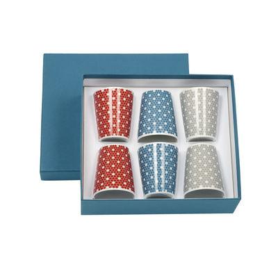 Arts de la table - Tasses et mugs - Tasse à espresso Madison 6  / Coffret 6 tasses - Christofle - Rouge, bleu, gris - Porcelaine de Limoges