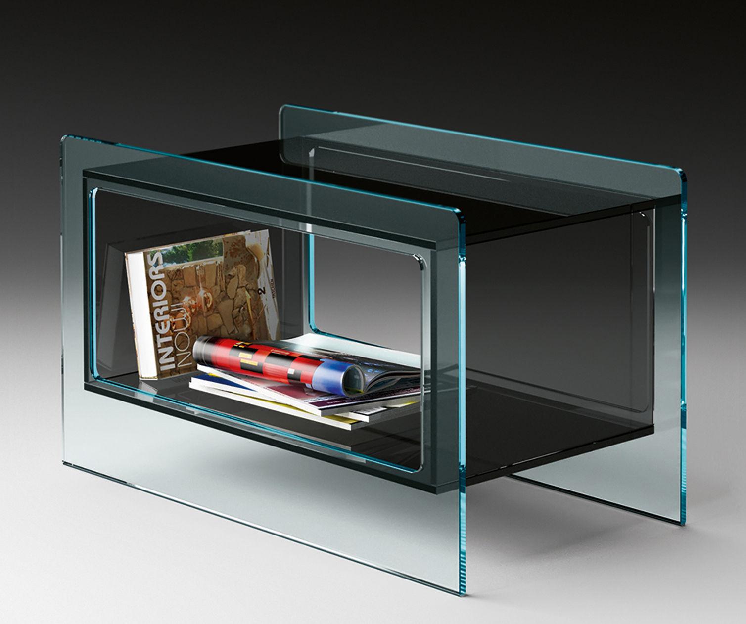 Arredamento - Tavolini  - Tavolino Magique Side - / 70 x 38 cm di FIAM - Trasparente / Scomparto grigio fumo - Vetro
