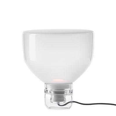 Leuchten - Tischleuchten - Lightline Small Tischleuchte / Ø 32 cm x H 34 cm - Glas - Brokis - Opalweiß / Sockel transparent - geblasenes Glas