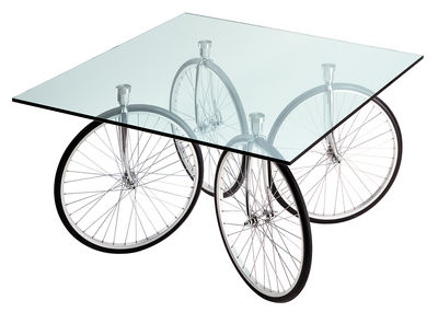 Mobilier - Tables basses - Table carrée Tour / 120 x 120 x H 69 cm - Fontana Arte - Verre - Chrome - Acier chromé, Caoutchouc, Verre